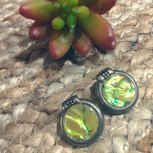Jewelry - Vintage Yellow Abalone Statement Earrings